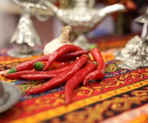 A group of chili pepper on a Turkish traditional cloth